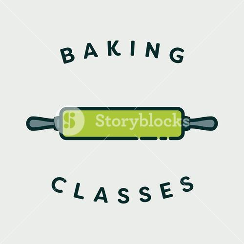 Vector image of rolling pin with text baking classes