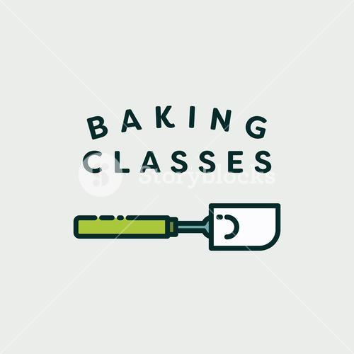 Vector image of spatula with text baking classes