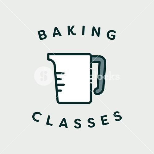 Vector image of measuring jar with text baking classes
