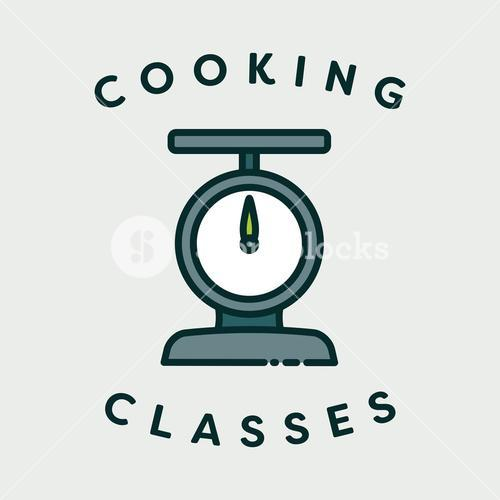 Vector image of scale with text cooking classes