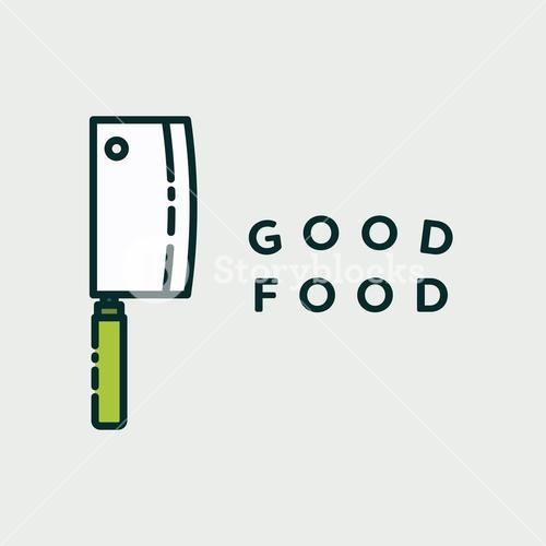 Vector image of knife with text good food