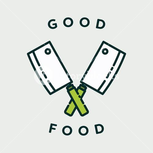 Vector image of knives with text good food