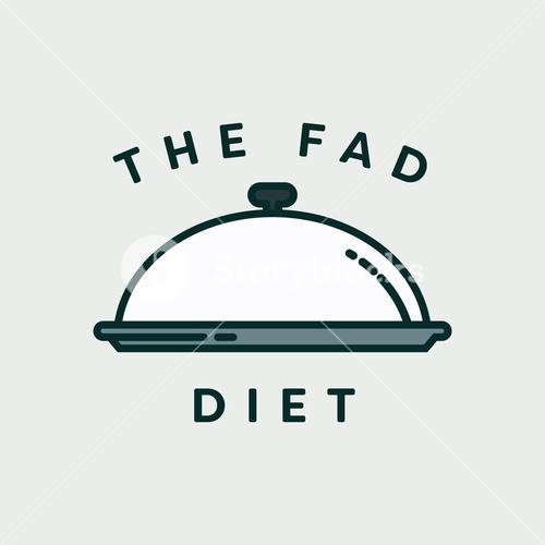 Vector image of lid plate with text the fad diet