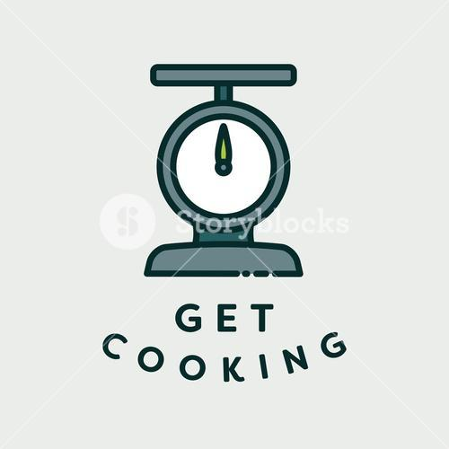 Vector image of scale with text get cooking