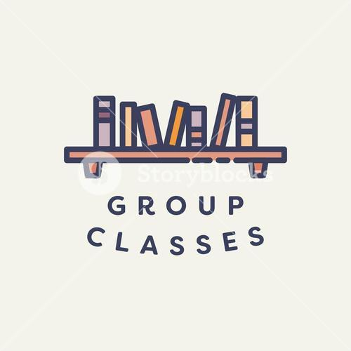 Vector image of book shelf with text group classes