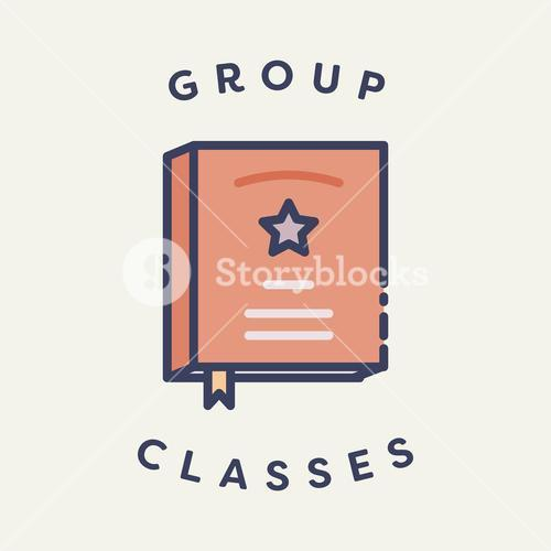Vector image of book with text group classes