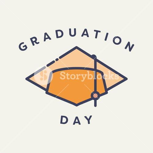 Vector image of graduation cap with text graduation day