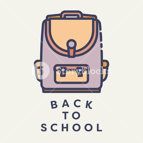 Vector image of school bag with text back to school
