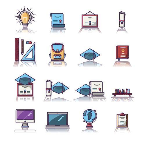 Set of various educational vector icons