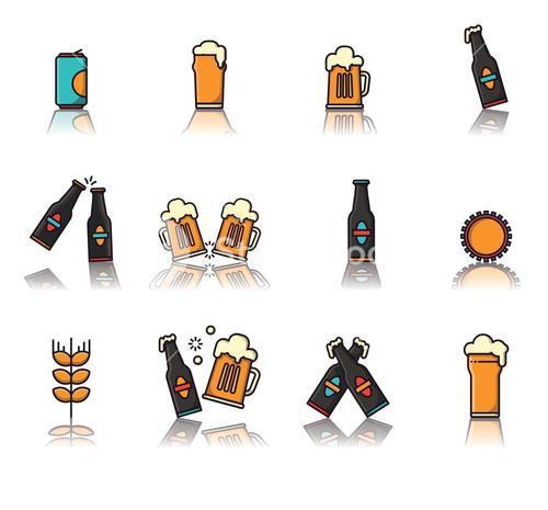 Vector icon set of beer