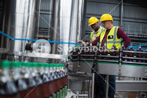 Factory workers monitoring cold drink bottles at drinks production plant