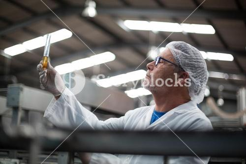 Factory engineers checking a sample of drink