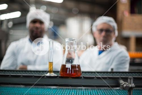 Samples of drinks on production line