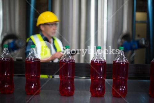 Male factory worker monitoring cold drink bottles