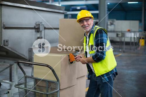 Portrait of factory worker loading cardboard boxes