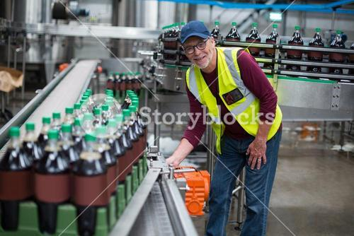 Portrait of factory worker inspecting production line