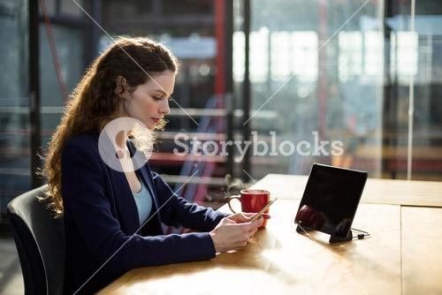 Female business executive using mobile phone at desk