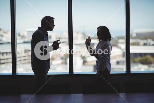 Business couple arguing near the window
