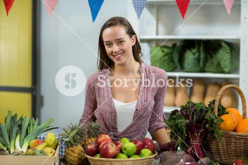 Woman vendor standing at the counter in grocery store
