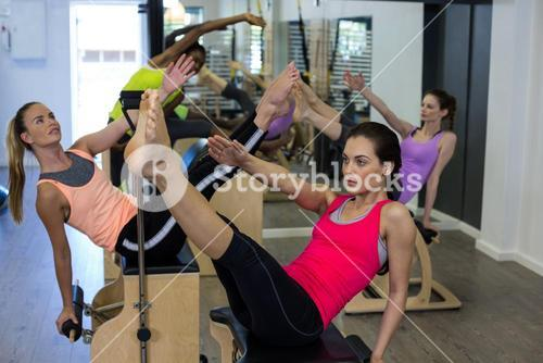 Group of women exercising on wunda chair