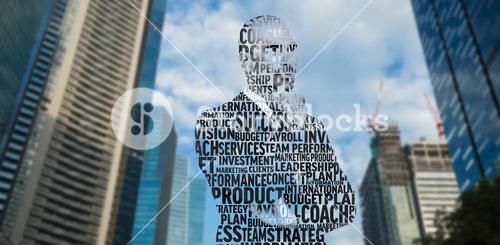 Composite image of businessman in buzzwords