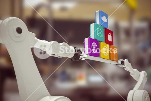 Composite image of robotic hands holding computer icons against white background