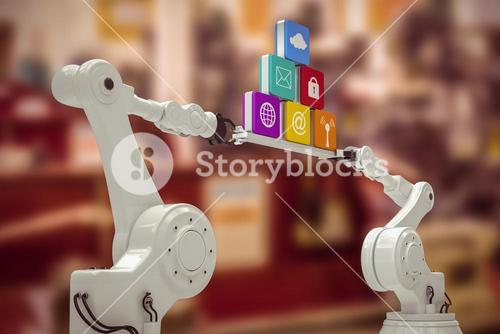 Composite image of robotic hands holding computer icons over white background