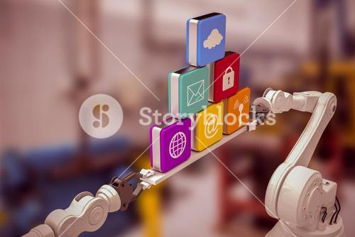 Composite image of metallic robotic hands holding computer icons over white background