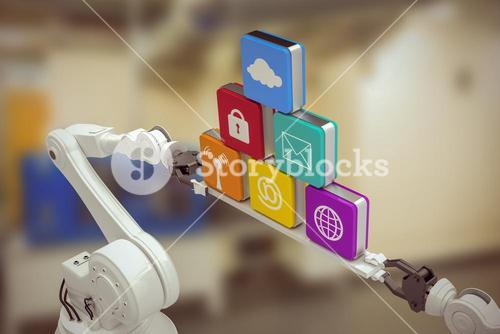 Composite image of robotic hands holding multi colored computer icons against white background