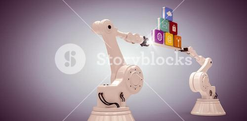 Composite image of robotic hands holding computer icons over purple vignette