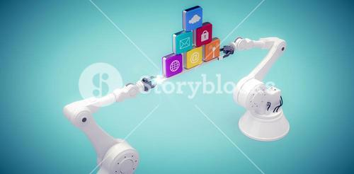 Composite image of robotic hands holding multi colored computer icons over light blue vignette