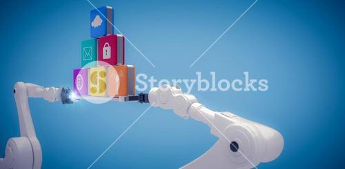 Composite image of white robotic hands holding computer icons on blue vignette