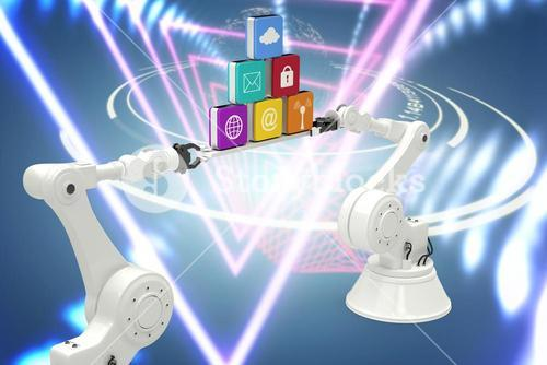 Composite image of white robotic hands holding computer icons against white background