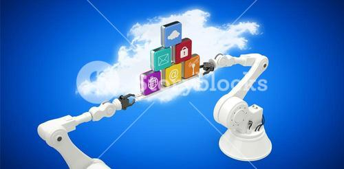 Composite image of robotic hands holding multi colored computer icons over blue vignette