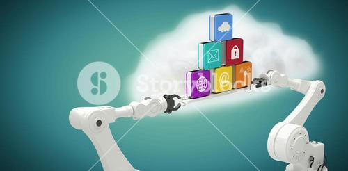 Composite image of white robotic hands holding computer icons against blue background