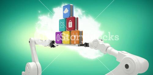Composite image of white robotic hands holding computer icons on green vignette