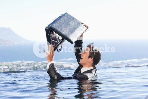 Businessman looking in his briefcase