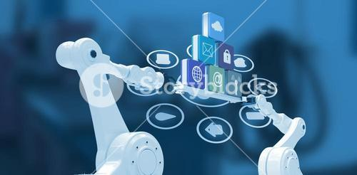 Composite image of robotic hands holding computer icons over blue background