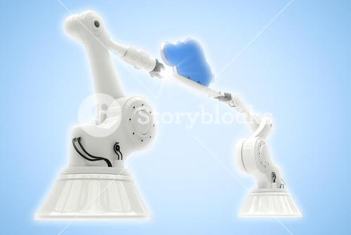 Composite image of digitally composite image of robotic hands holding cloud