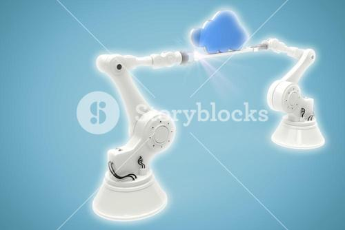 Composite image of digitally generated image of robotic hands holding blue cloud