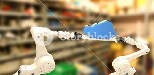 Composite image of robotic hands holding blue cloud