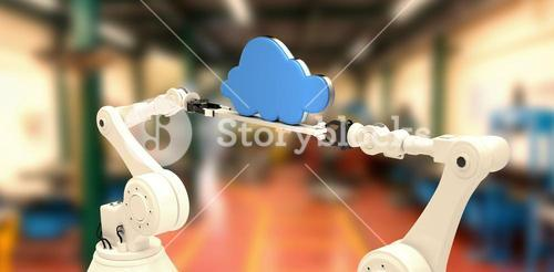 Composite image of digitally composite image of robotic hands holding blue cloud