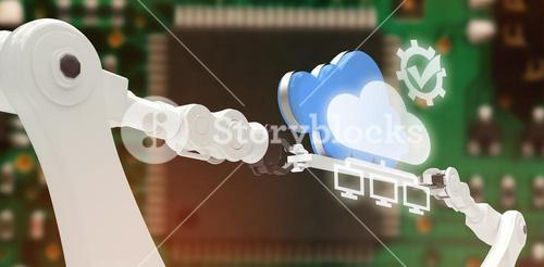 Composite image of tick symbol in gear against computers connected to the cloud