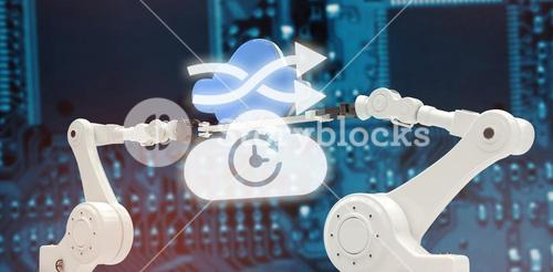 Composite image of digital image of arrow sign with cloud