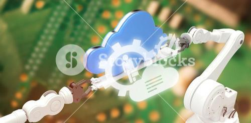 Composite image of digital image of cloud with gears