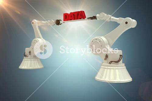 Composite image of metallic robotic hands holding red data message against white background