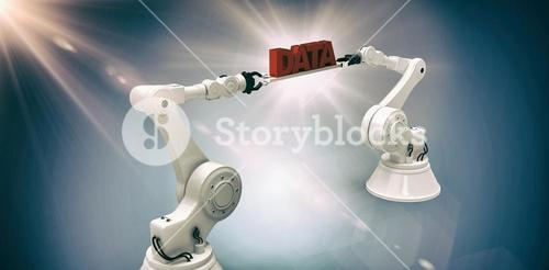 Composite image of white robotic hands holding red data message against dark background