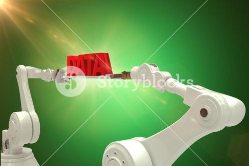 Composite image of white robotic hands holding red data message over white background