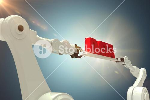 Composite image of robotic hands holding red data text against grey background