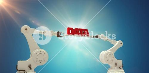 Composite image of robotic hands holding red data text over blue background